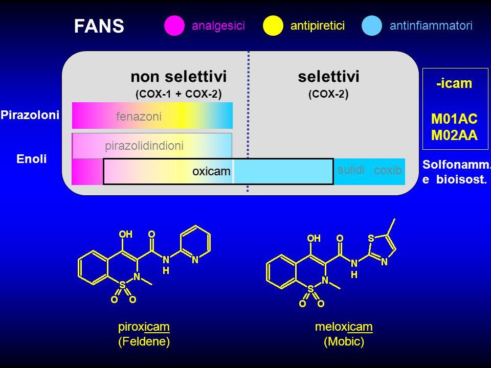 FANS non selettivi selettivi -icam M01AC M02AA analgesici antipiretici