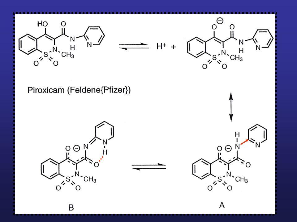Gli analoghi più attivi sono quelli più acidi: sono gli N-eteroarilsostituiti che esercitano un più forte effetto elettronattrattore (A) e, attraverso un riarrangiamento tautomerico, stabilizzare ulteriormente l'anione mediante legame a idrogeno.