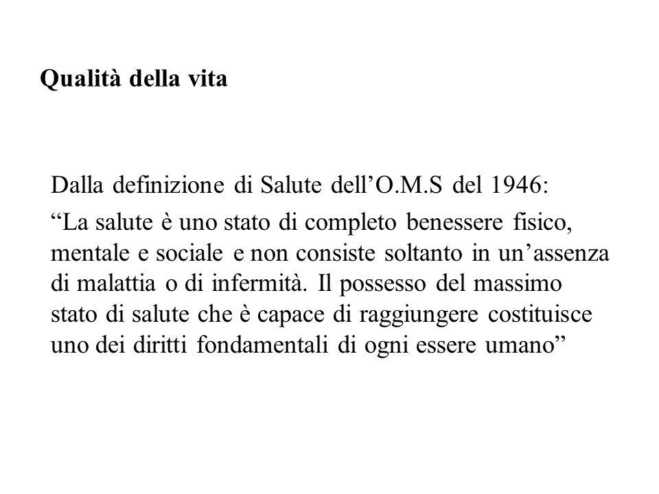 Qualità della vita Dalla definizione di Salute dell'O.M.S del 1946: