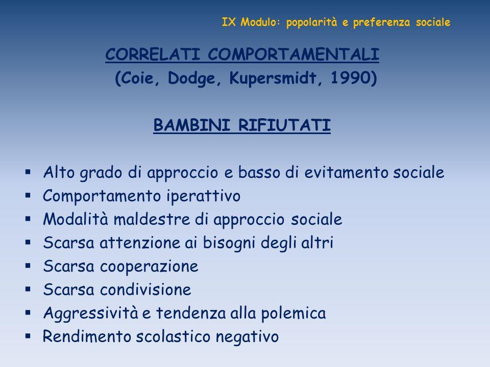 IX Modulo: popolarità e preferenza sociale