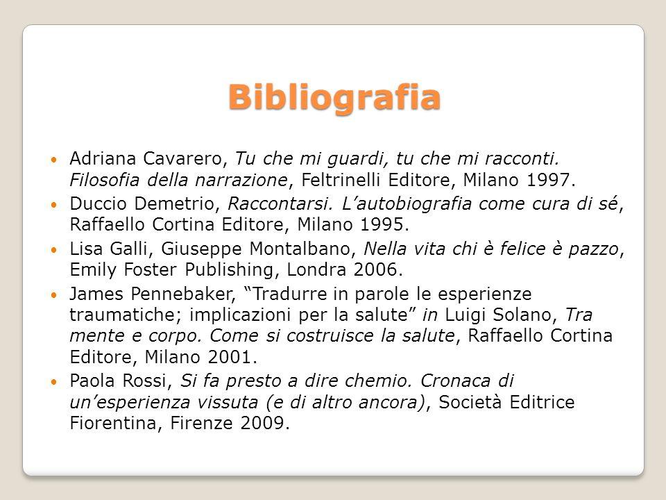 Bibliografia Adriana Cavarero, Tu che mi guardi, tu che mi racconti. Filosofia della narrazione, Feltrinelli Editore, Milano 1997.