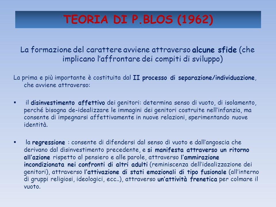 TEORIA DI P.BLOS (1962) La formazione del carattere avviene attraverso alcune sfide (che implicano l'affrontare dei compiti di sviluppo)