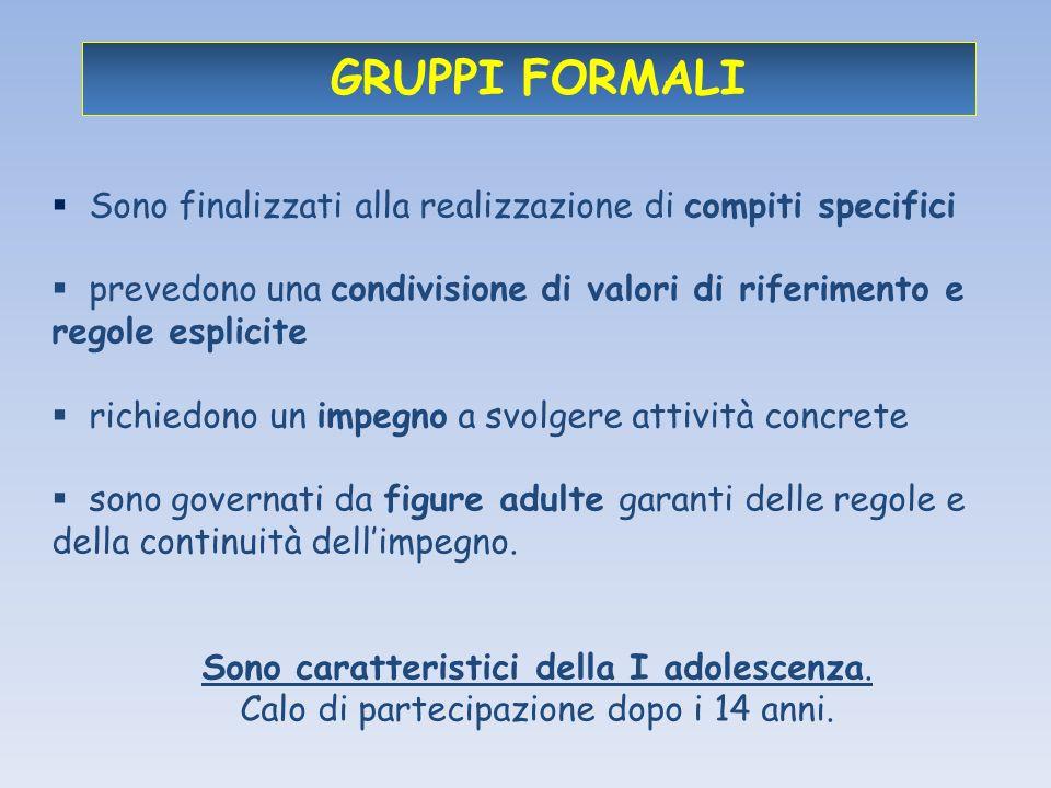GRUPPI FORMALI Sono finalizzati alla realizzazione di compiti specifici. prevedono una condivisione di valori di riferimento e regole esplicite.