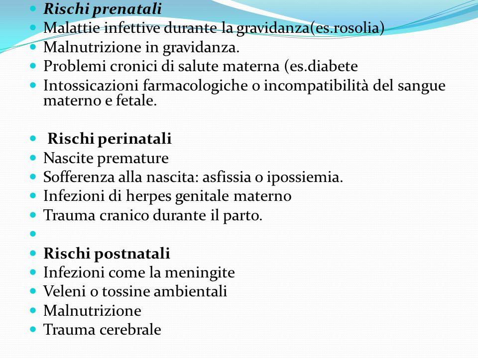 Rischi prenatali Malattie infettive durante la gravidanza(es.rosolia) Malnutrizione in gravidanza.