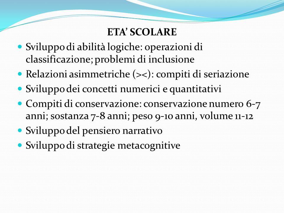 ETA' SCOLARE Sviluppo di abilità logiche: operazioni di classificazione; problemi di inclusione. Relazioni asimmetriche (><): compiti di seriazione.