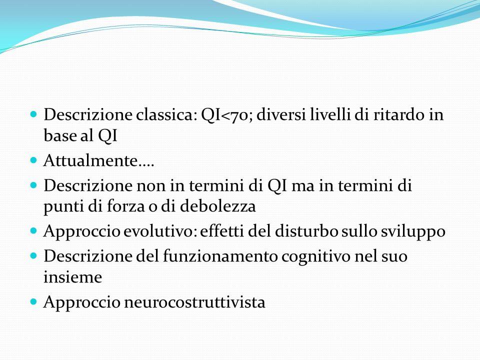 Descrizione classica: QI<70; diversi livelli di ritardo in base al QI
