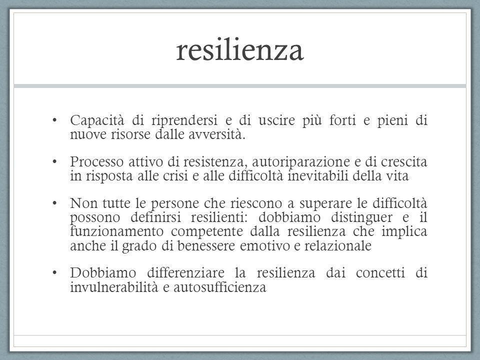 resilienza Capacità di riprendersi e di uscire più forti e pieni di nuove risorse dalle avversità.