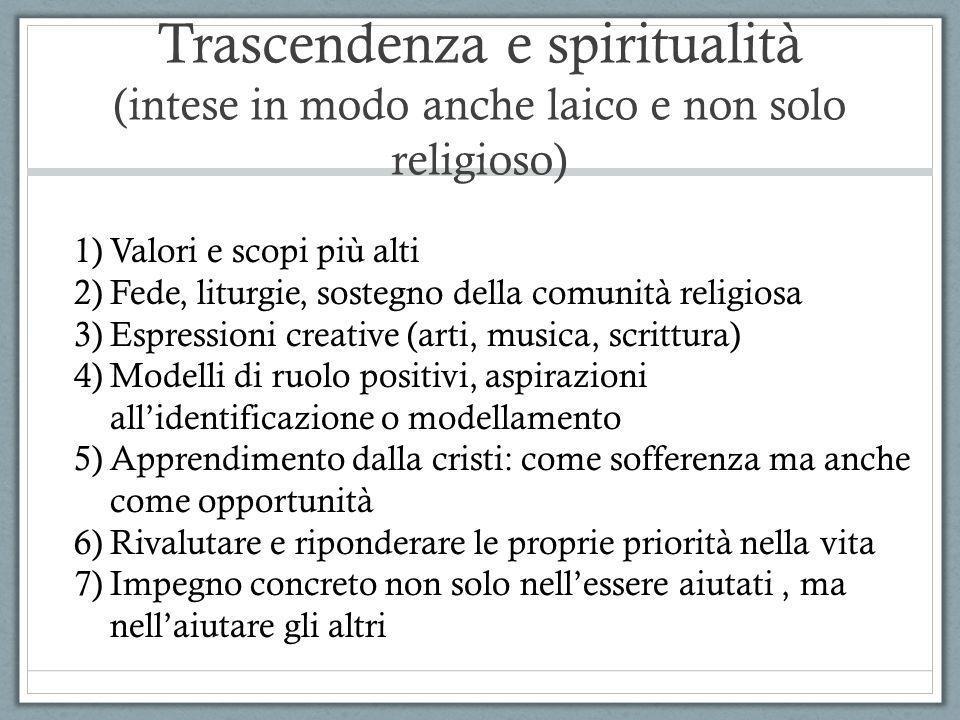 Trascendenza e spiritualità (intese in modo anche laico e non solo religioso)