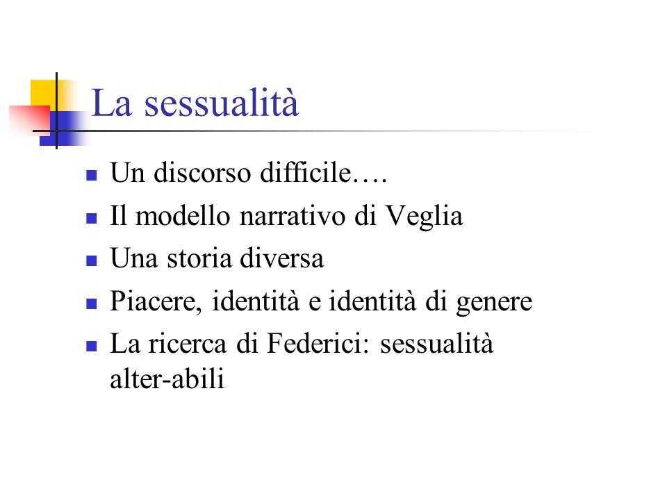 La sessualità Un discorso difficile…. Il modello narrativo di Veglia