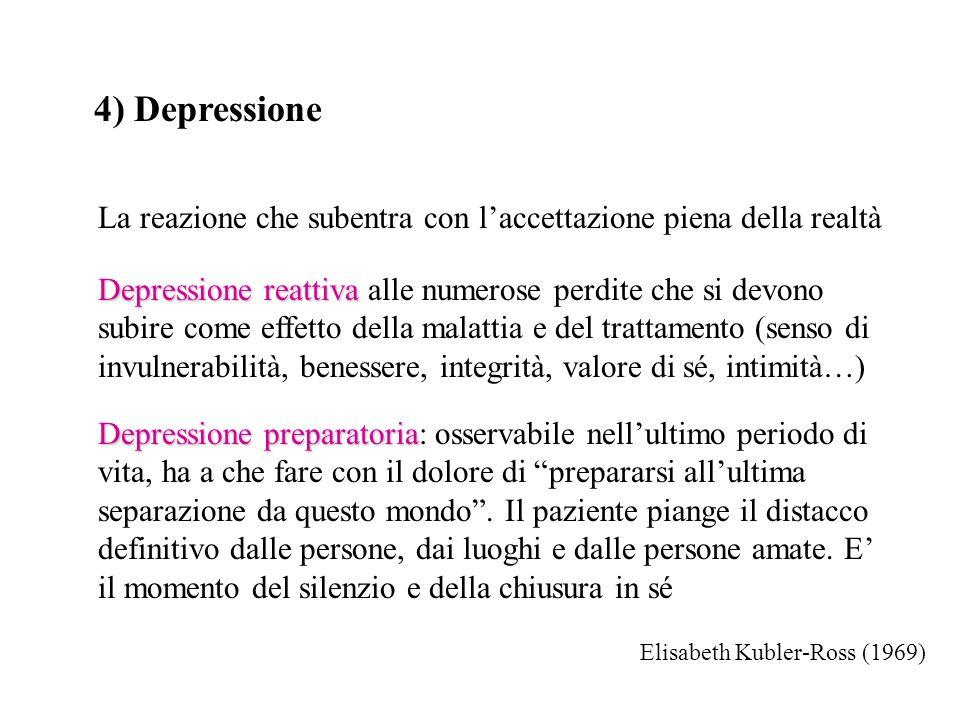 4) Depressione La reazione che subentra con l'accettazione piena della realtà.