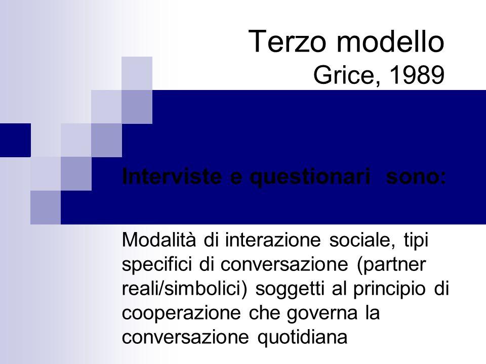 Terzo modello Grice, 1989 Interviste e questionari sono: