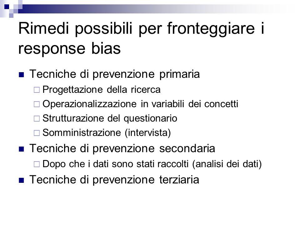 Rimedi possibili per fronteggiare i response bias