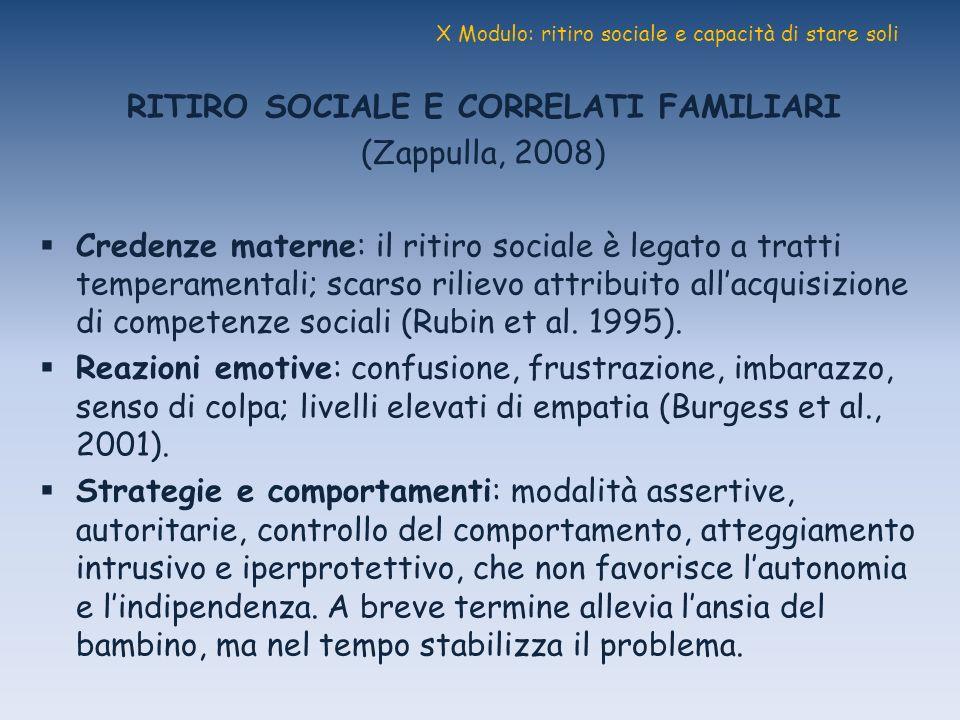 X Modulo: ritiro sociale e capacità di stare soli