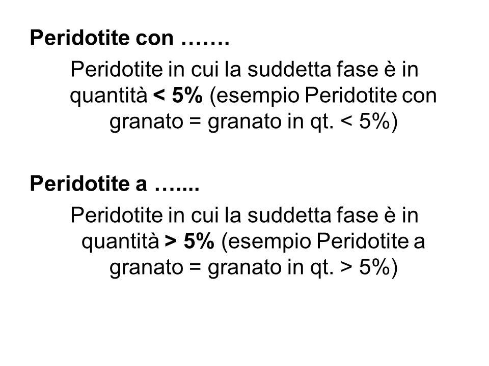 Peridotite con ……. Peridotite in cui la suddetta fase è in quantità < 5% (esempio Peridotite con granato = granato in qt. < 5%)