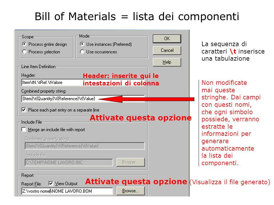 Bill of Materials = lista dei componenti