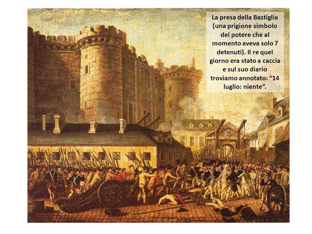 La presa della Bastiglia (una prigione simbolo del potere che al momento aveva solo 7 detenuti).