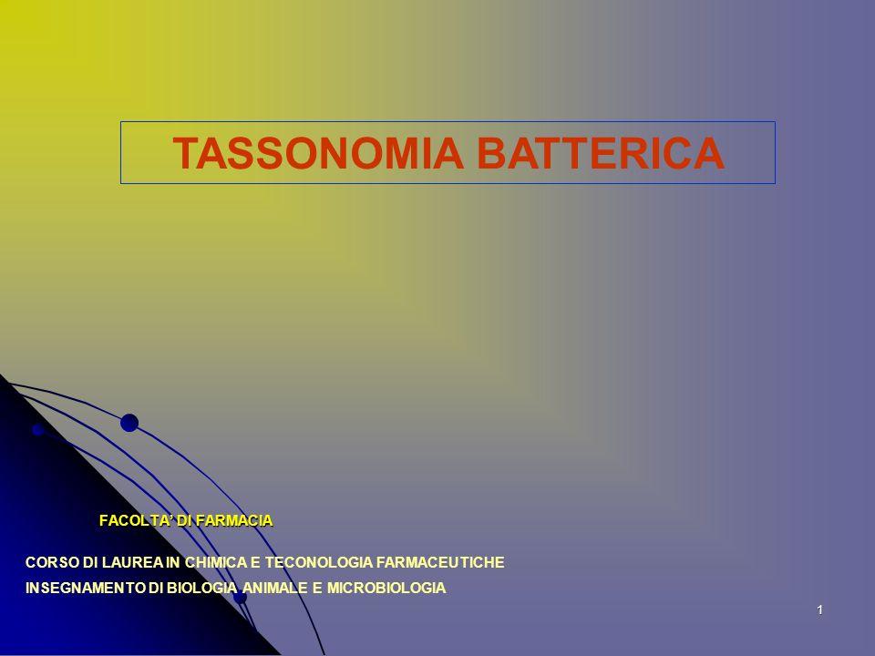 TASSONOMIA BATTERICA FACOLTA' DI FARMACIA