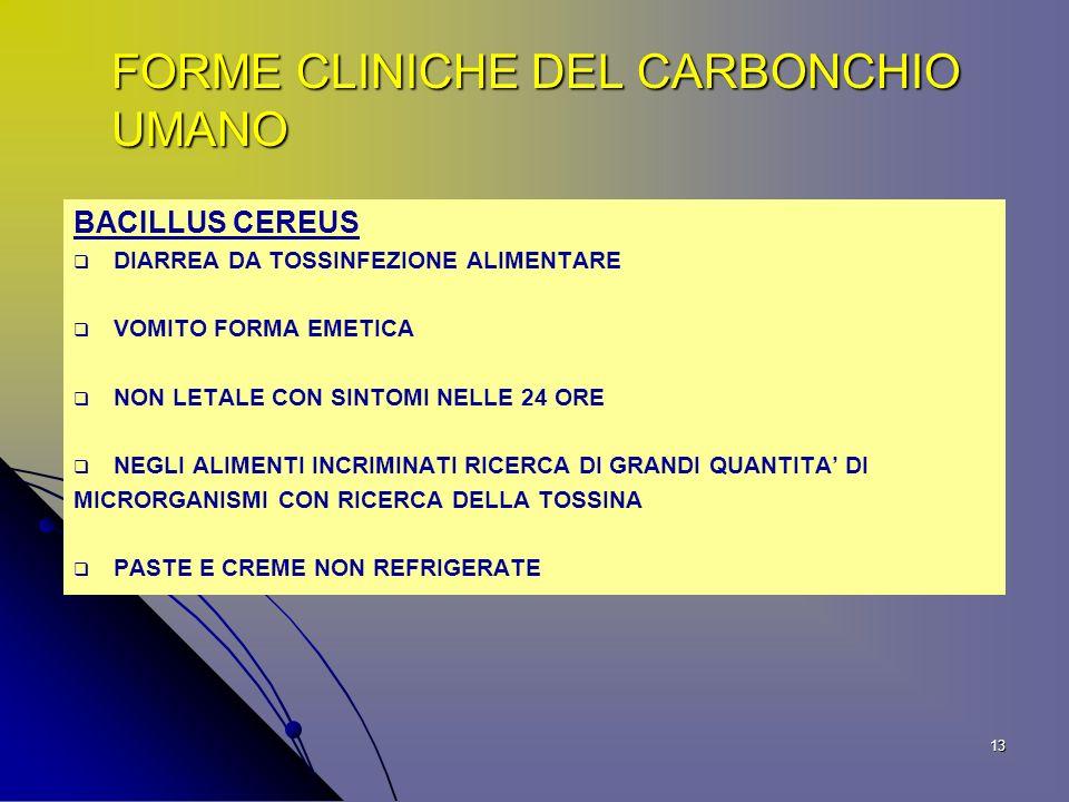 FORME CLINICHE DEL CARBONCHIO UMANO