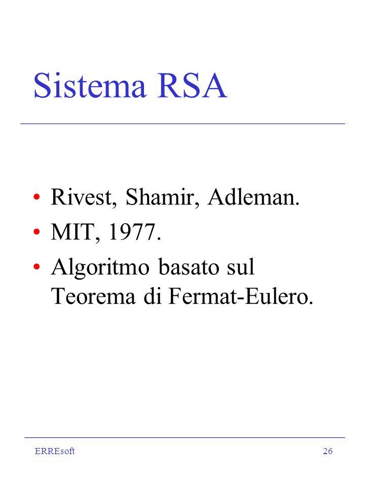 Sistema RSA Rivest, Shamir, Adleman. MIT, 1977.