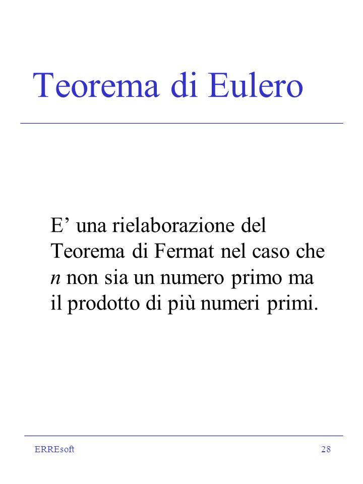 Teorema di Eulero E' una rielaborazione del Teorema di Fermat nel caso che n non sia un numero primo ma il prodotto di più numeri primi.