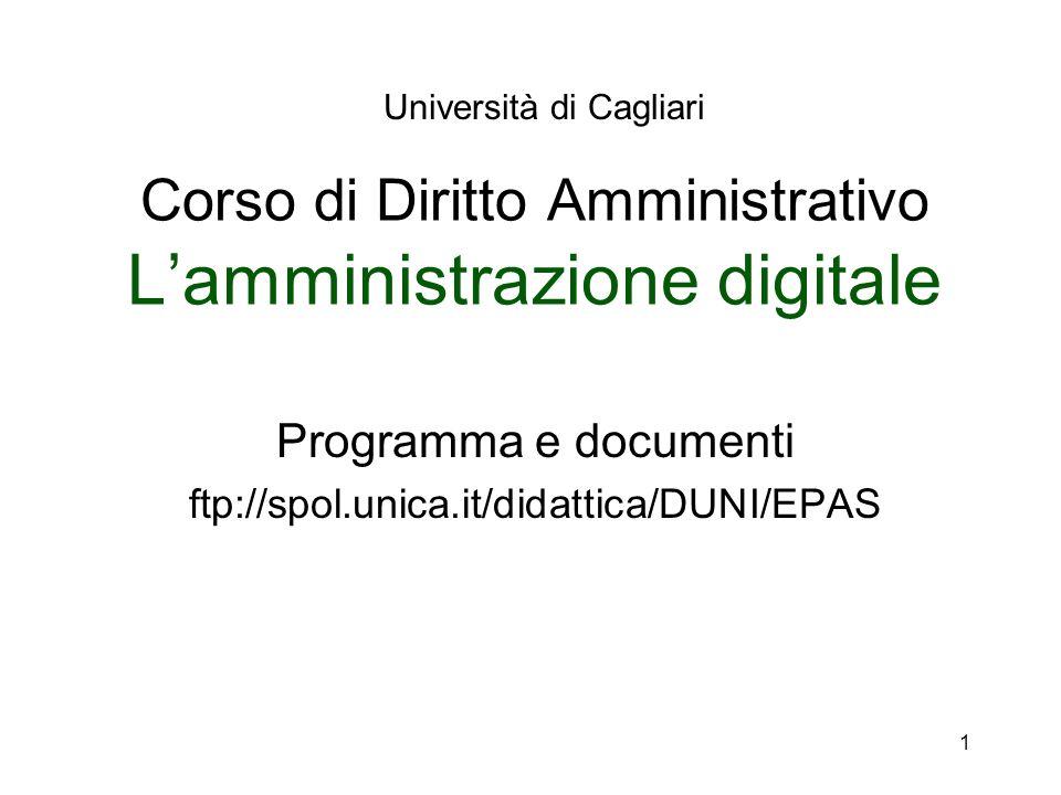 Corso di Diritto Amministrativo L'amministrazione digitale