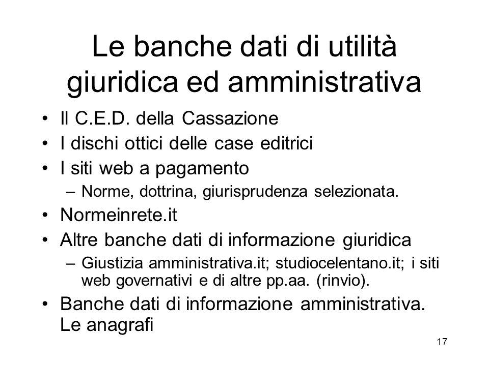 Le banche dati di utilità giuridica ed amministrativa