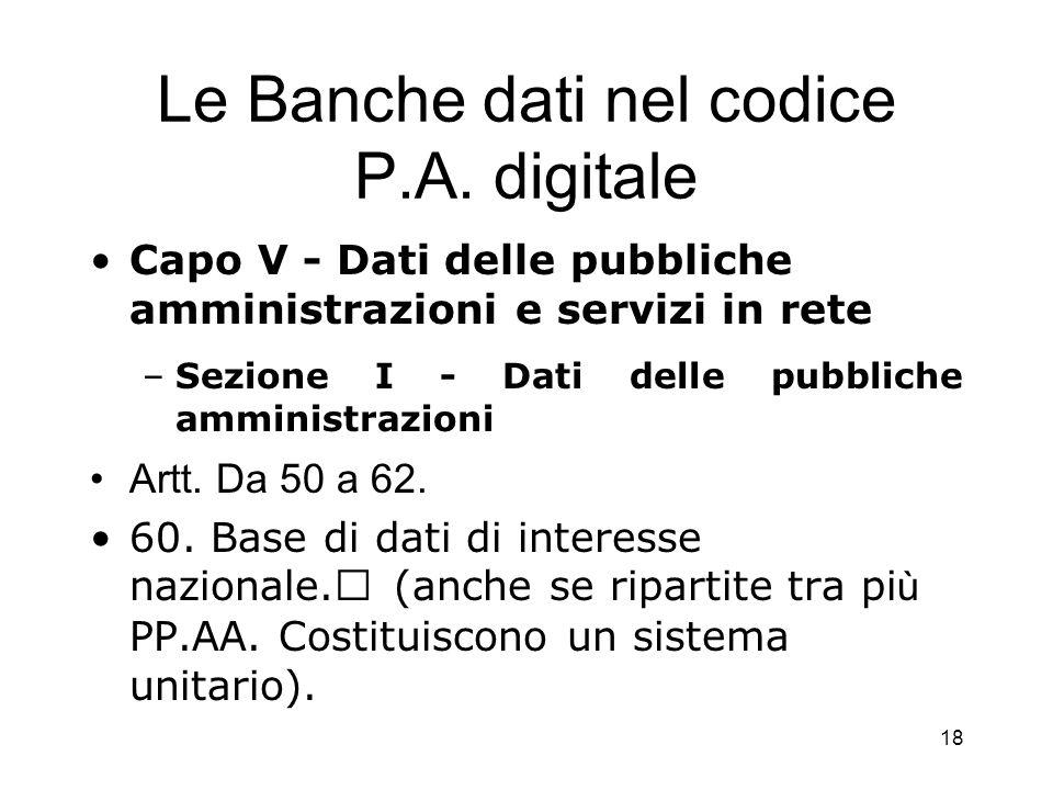 Le Banche dati nel codice P.A. digitale