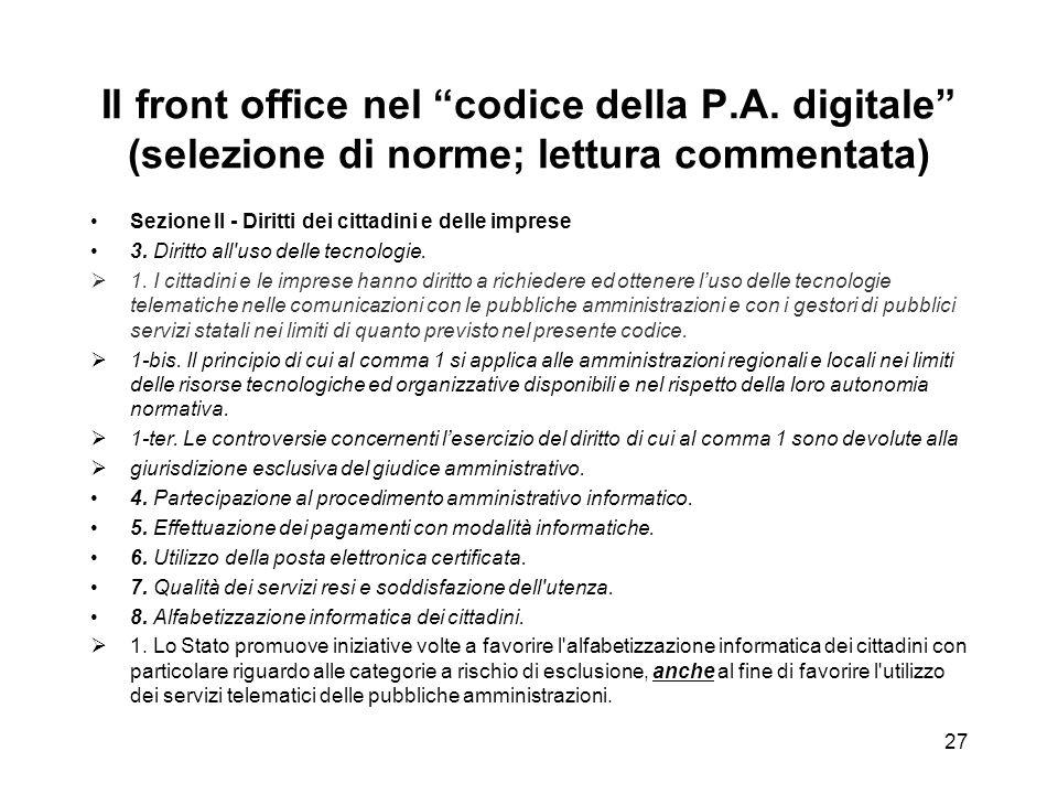 Il front office nel codice della P. A