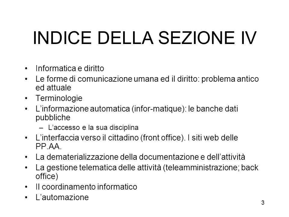 INDICE DELLA SEZIONE IV