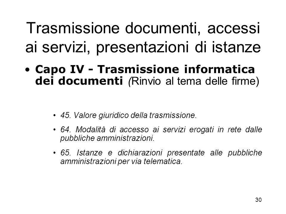 Trasmissione documenti, accessi ai servizi, presentazioni di istanze
