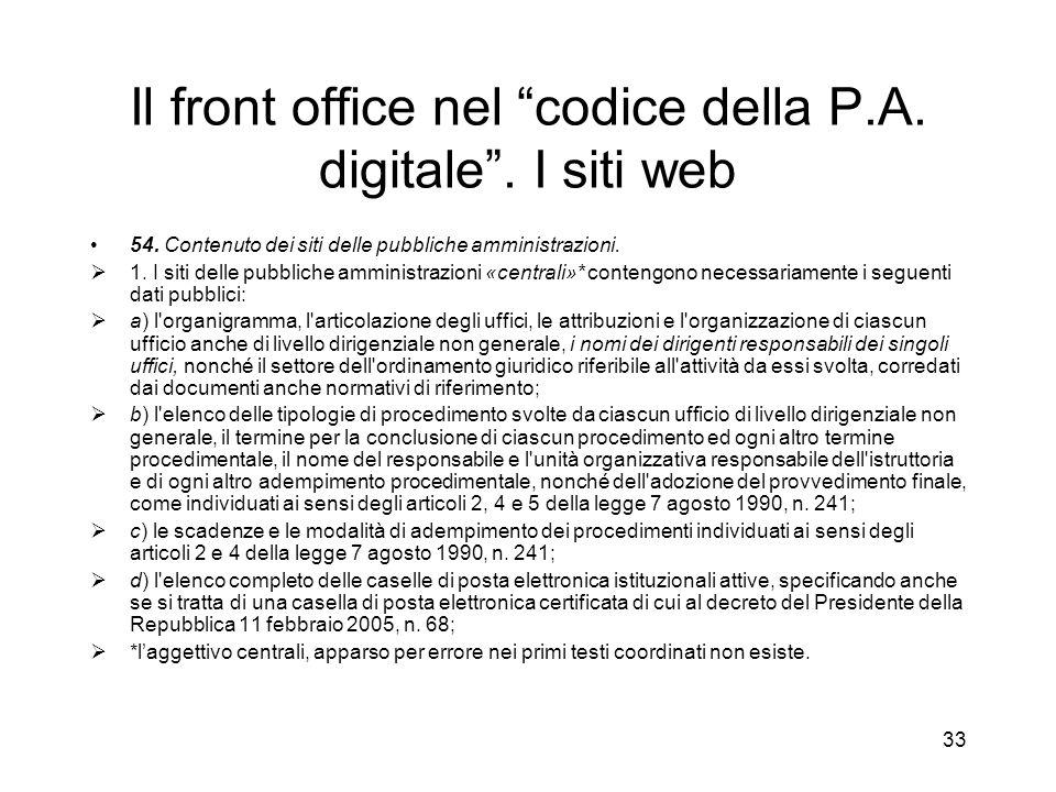 Il front office nel codice della P.A. digitale . I siti web