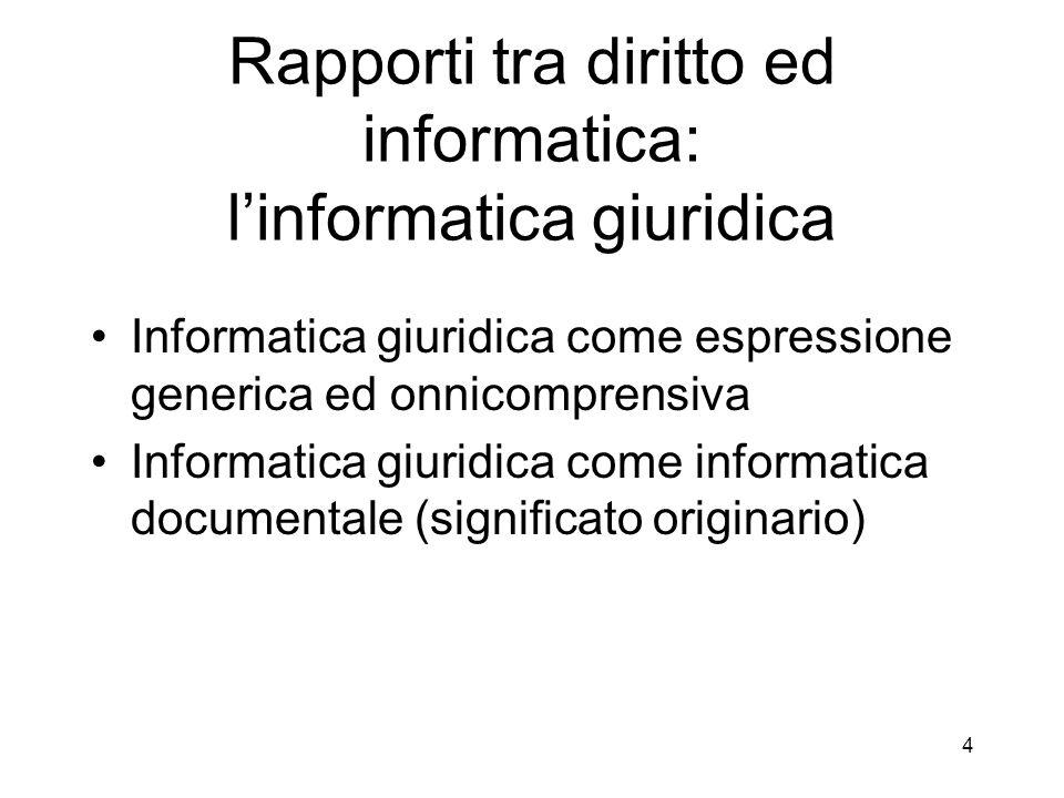 Rapporti tra diritto ed informatica: l'informatica giuridica
