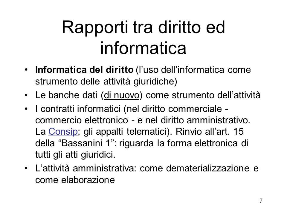 Rapporti tra diritto ed informatica