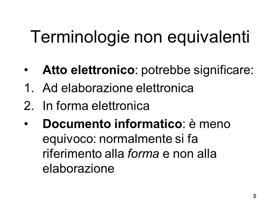 Terminologie non equivalenti