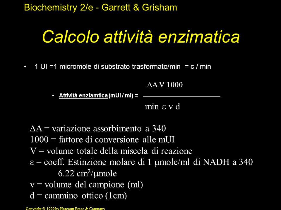 Calcolo attività enzimatica