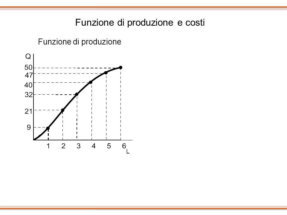 Funzione di produzione e costi