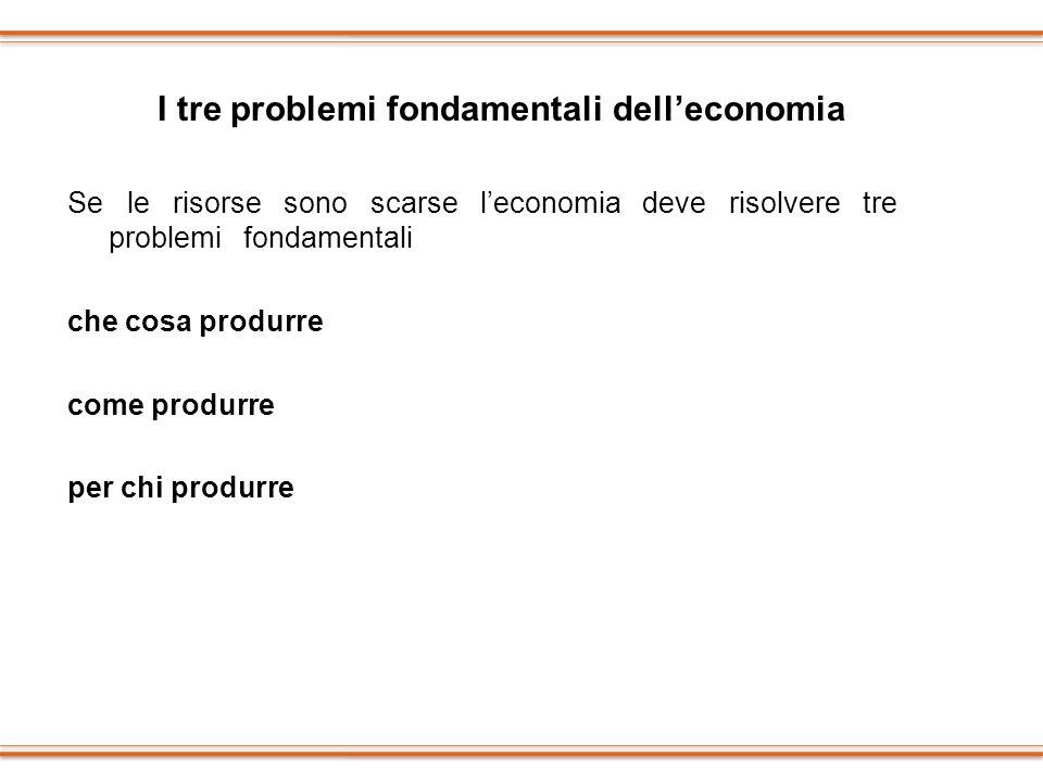 I tre problemi fondamentali dell'economia