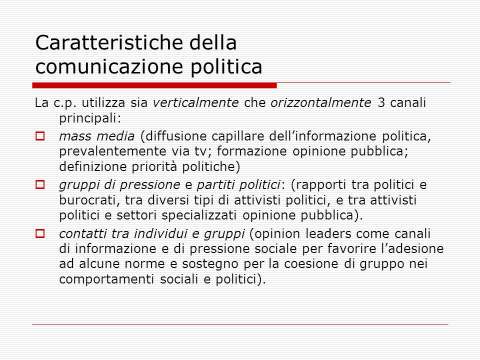Caratteristiche della comunicazione politica