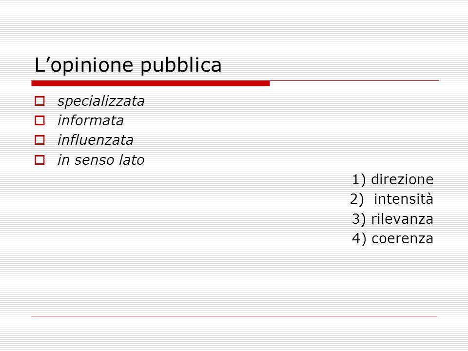 L'opinione pubblica specializzata informata influenzata in senso lato