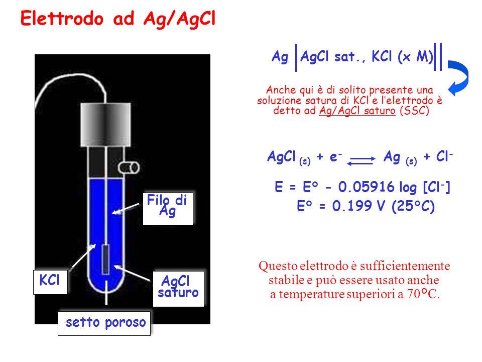 Elettrodo ad Ag/AgCl Ag AgCl sat., KCl (x M)