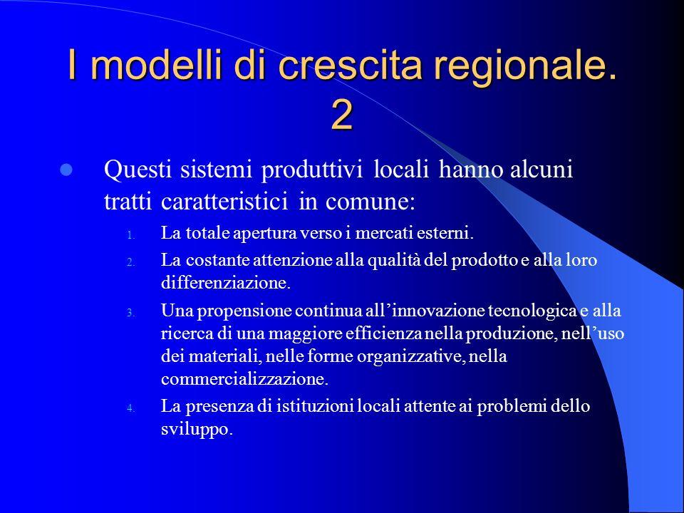 I modelli di crescita regionale. 2