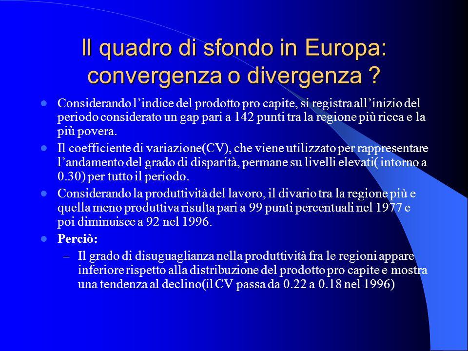 Il quadro di sfondo in Europa: convergenza o divergenza