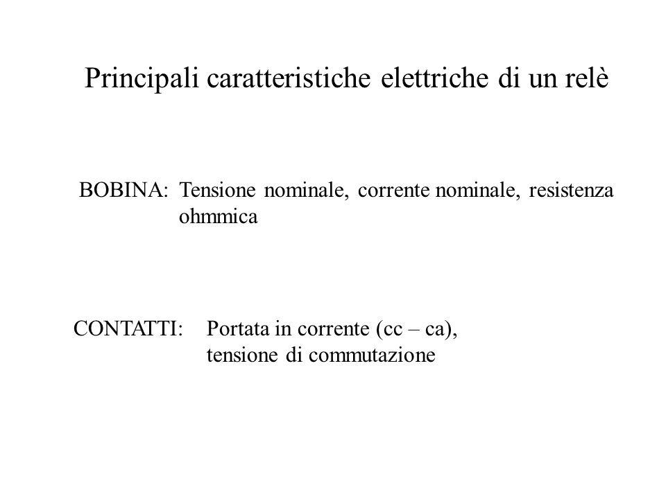 Principali caratteristiche elettriche di un relè