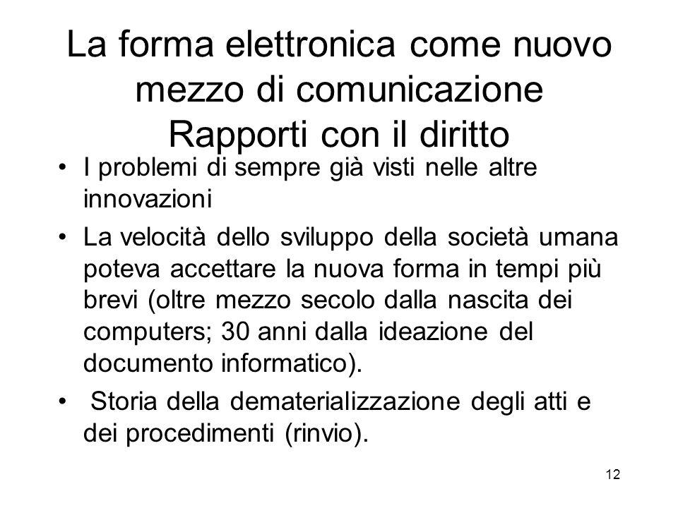 La forma elettronica come nuovo mezzo di comunicazione Rapporti con il diritto