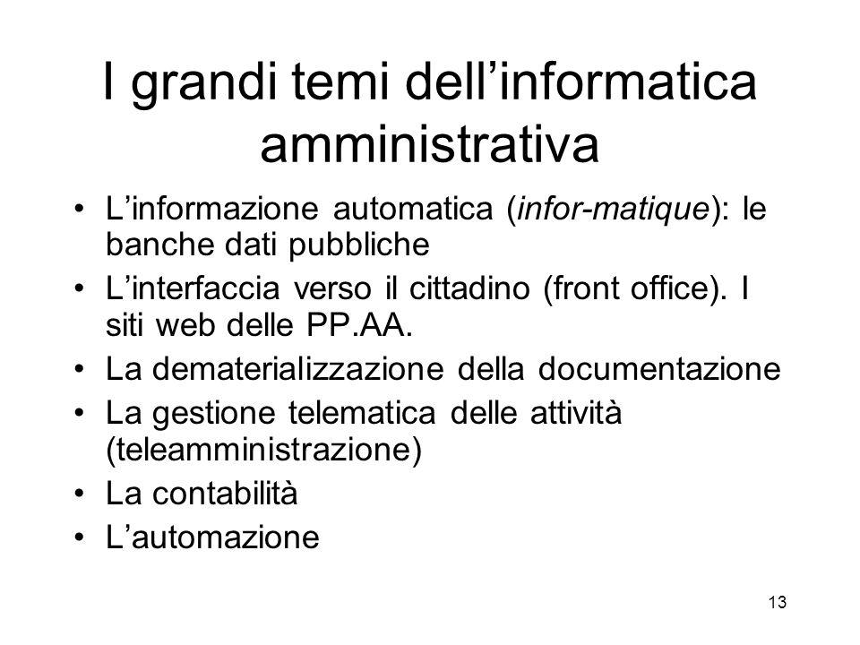 I grandi temi dell'informatica amministrativa