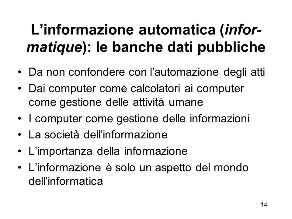 L'informazione automatica (infor-matique): le banche dati pubbliche