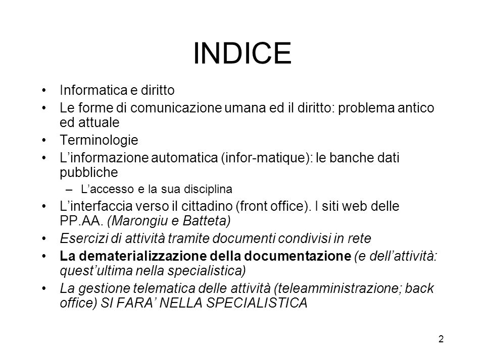 INDICE Informatica e diritto