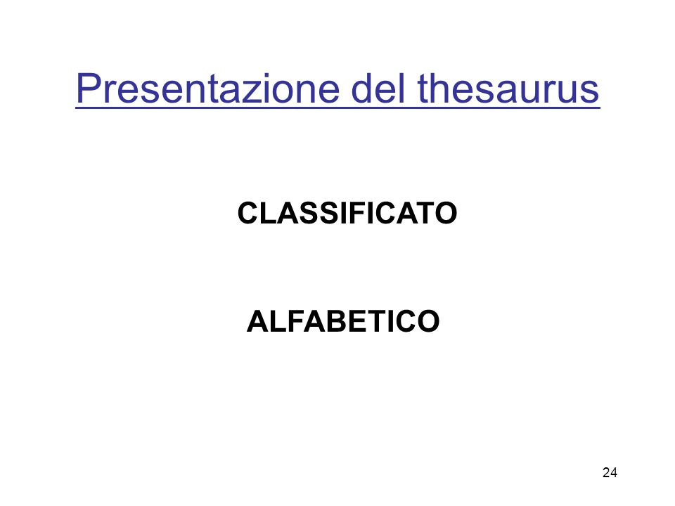Presentazione del thesaurus