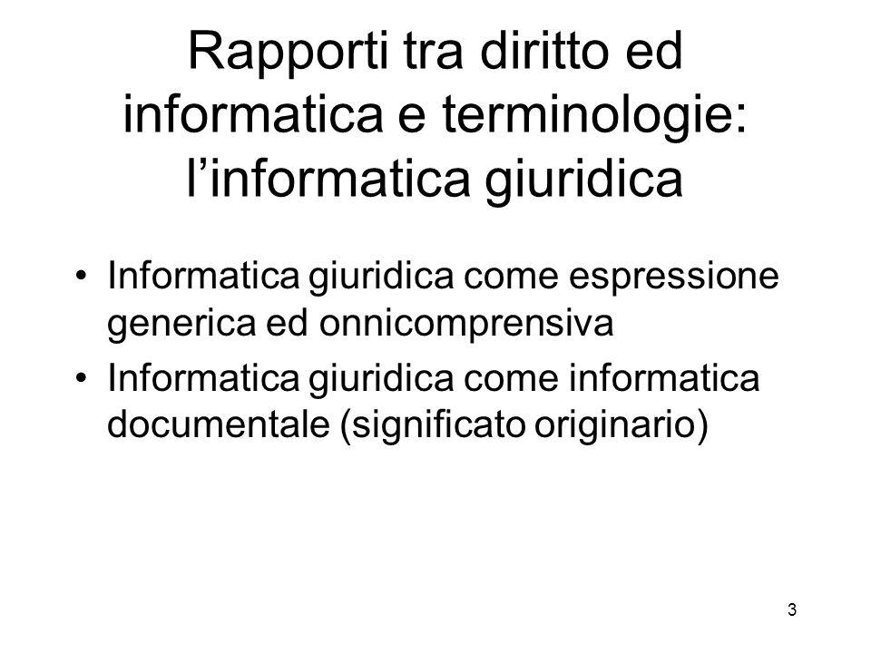 Rapporti tra diritto ed informatica e terminologie: l'informatica giuridica