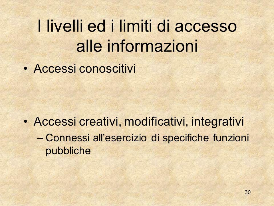 I livelli ed i limiti di accesso alle informazioni